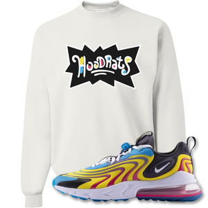 Hood Rats White Crewneck Sweatshirt to match Air Max 270 React ENG Laser Blue Sneakers