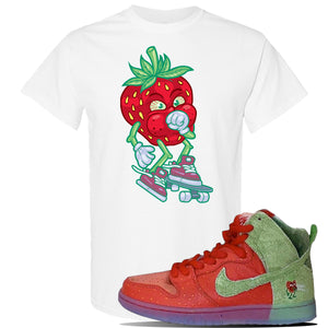 SB Dunk High 'Strawberry Cough' T Shirt | White, Coughing Berry
