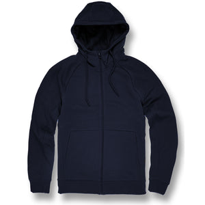 the navy blue fleece zip up hoodie is solid navy blue with a zipper running down the center