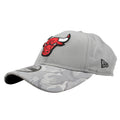 on the left side of the Chicago Bulls gray shadow camo dad hat is the New Era logo embroidered in black