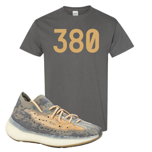 Yeezy Boost 380 Mist Sneaker Charcoal Gray T Shirt | Tees to match Adidas Yeezy Boost 380 Mist Shoes | 380