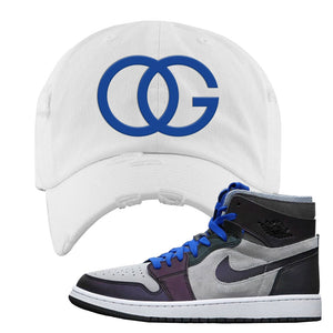 Air Jordan 1 High Zoom E-Sports Distressed Dad Hat | OG, White