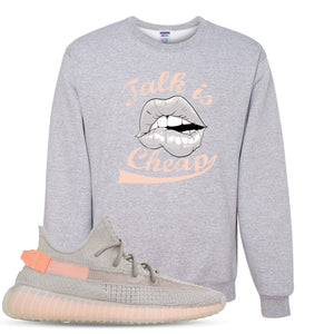 Yeezy Boost 350 True Form V2 Sneaker Hook Up Talk Is Cheap Heathered Light Gray Crewneck Sweater