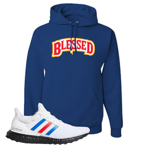 Ultra Boost White Red Blue Hoodie | Royal Blue, Blessed Arch