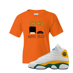 The Kids Gets Play Safety Orange Kid's T-Shirt to match Air Jordan 13 GS Playground Kids Sneaker