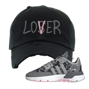 WMNS Nite Jogger True Pink Camo Distressed Dad Hat | Black, Lover