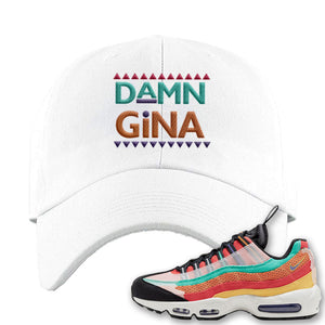 Air Max 95 Black History Month Sneaker White Dad Hat | Hat to match Air Max 95 Black History Month Shoes | Damn Gina