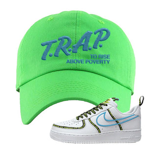 Air Force 1 '07 PRM 'Worldwide Pack' Dad Hat | Neon Green, Trap To Rise Above Poverty