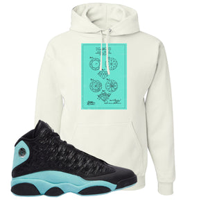 Diamond Patent White Pullover Hoodie To Match Jordan 13 Island Green Sneakers