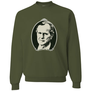Standard Issue George H.W. Bush Dollar Bill Military Green Grunt Life Crewneck Sweater