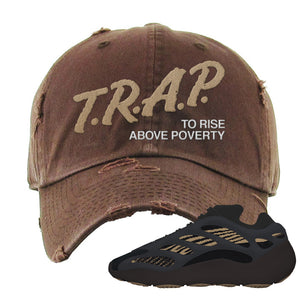 Yeezy 700 v3 Eremial Distressed Dad Hat | Trap To Rise Above Poverty, Brown