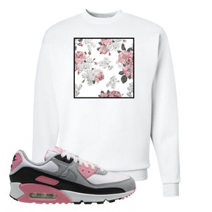 WMNS Air Max 90 Rose Pink Flower Box White Crewneck Sweatshirt To Match Sneakers