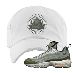 Air Max 95 Surplus Supply Distressed Dad Hat | All Seeing Eye, White