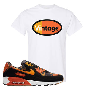 Air Max 90 Orange Camo T Shirt | Vintage Oval, White