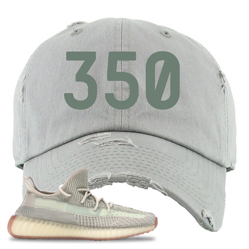 Yeezy Boost 350 V2 Citrin Non-Reflective 350 Light Gray Sneaker Matching Distressed Dad Hat