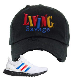 Ultra Boost White Red Blue Distressed Dad Hat | Black, Living Savage