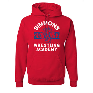 Simmons Wrestling Academy Pullover Hoodie | Ben Simmons Wrestling Academy Red Pull Over Hoodie the front of this hoodie has the simmons wrestling design