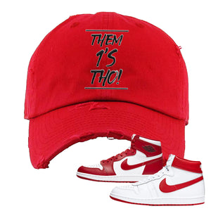 Jordan 1 New Beginnings Pack Sneaker Red Distressed Dad Hat | Hat to match Nike Air Jordan 1 New Beginnings Pack Shoes | Them 1's Tho