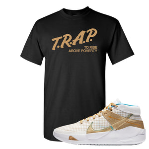 KD 13 EYBL T Shirt | Trap To Rise Above Poverty, Black