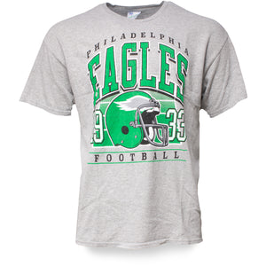front of Vintage Eagles  Shirt 1933 Ash Heather T-Shirt  | Philadelphia Eagles Throwback shirt kelly green bird