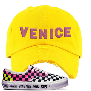 Vans Era Venice Beach Pack Distressed Dad Hat | Yellow, Venice Sign