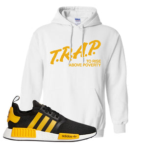 NMD R1 Active Gold Hoodie | White, Trap To Rise Above Poverty