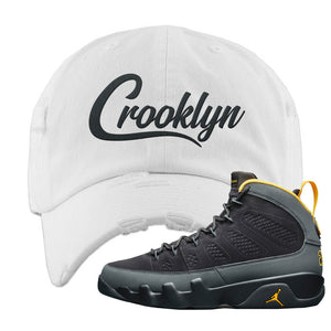 Air Jordan 9 Charcoal University Gold Distressed Dad Hat | Crooklyn, White