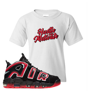 Air More Uptempo Laser Crimson Hustle & Motivate White Sneaker Hook Up Kid's T-Shirt