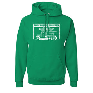 Concrete Charlie's Pullover Hoodie | Chuck Bednarik's Concrete Mix Kelly Green Pull Over Hoodie the front of this hoodie has the concrete company