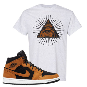 Air Jordan 1 Mid Wheat T Shirt | All Seeing Eye, Ash