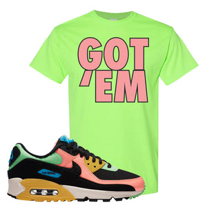 Furry Air Max 90 Bright Neon T Shirt | Got Em, Neon Green