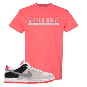 Nike SB Dunk Low Infrared Orange Label When The Henny's In The System Coral Silk T-Shirt To Match Sneakers