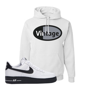 Air Force 1 Low White Black Hoodie | White, Vintage Oval