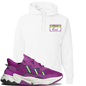 Ozweego Vivid Pink Sneaker White Pullover Hoodie | Hoodie to match Adidas Ozweego Vivid Pink Shoes | Hello my Name is Mami