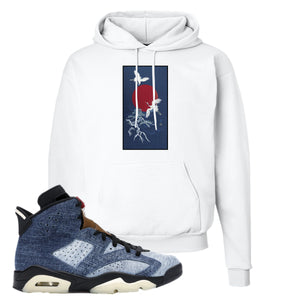 Jordan 6 Washed Denim Hoodie | White, Crane Sun