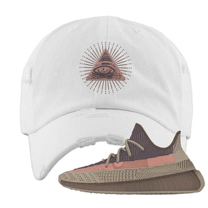 Yeezy 350 v2 Ash Stone Distressed Dad Hat | All Seeing Eye, White