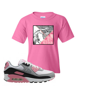WMNS Air Max 90 Rose Pink Marble Mosaic Azalea Kid's T-Shirt To Match Sneakers