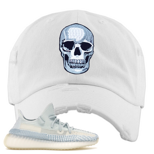 Yeezy Boost 350 V2 Cloud White Non-Reflective Skull Sneaker Matching White Distressed Dad Hat