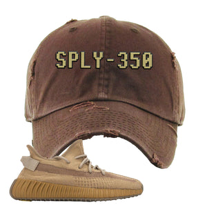 Yeezy Boost 350 V2 Earth Sneaker Distressed Dad Hat To Match | SPLY-350, Brown