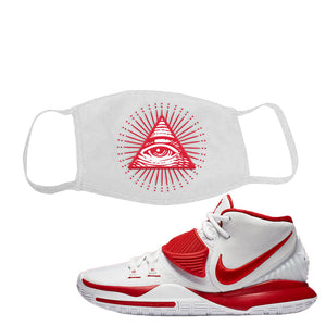 Kyrie 6 White University Red Face Mask | All Seeing Eye, White