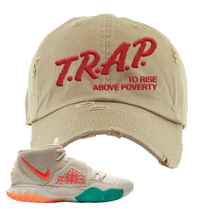 Kyrie 6 N7 Distressed Dad Hat | Khaki, Trap To Rise Above Poverty