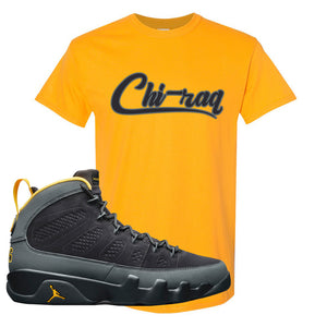 Air Jordan 9 Charcoal University Gold T Shirt | Chiraq, Gold