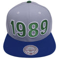 the 1989 Minnesota Timberwolves snapback hat has a gray structured crown a blue flat brim and the 1989 year embroidered in green and white