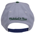 on the back of the 1989 Minnesota Timberwolves Gray on Blue snapback hat is the Mitchell and Ness logo embroidered in green above a blue adjustable snap