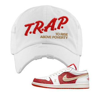Air Jordan 1 Low Spades Distressed Dad Hat | Trap To Rise Above Poverty, White