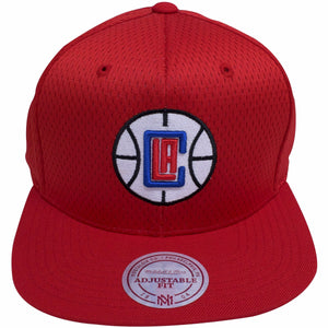 the los angeles clippers red mesh jersey snapback hat is solid red with a white, black, red and blue los angeles clippers logo embroidered on the front
