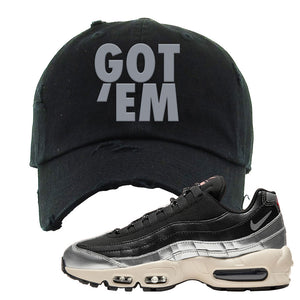 3M x Nike Air Max 95 Silver and Black Distressed Dad Hat | Got Em, Black
