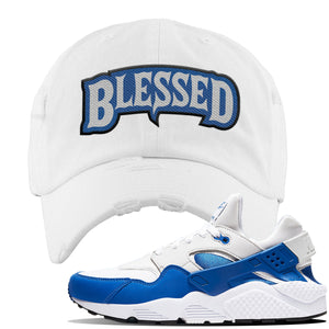 Huarache DNA Series Distressed Dad Hat | White, Blessed Arch