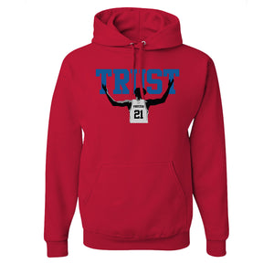 Trust The Process Pullover Hoodie | The Process Red Pull Over Hoodie the front of this hoodie has the word trust and embiid below it