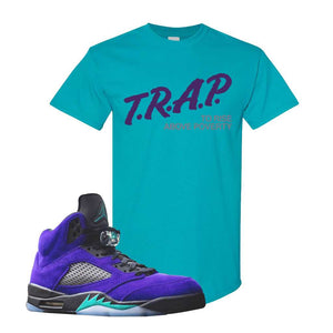 Air Jordan 5 Alternate Grape T Shirt | Tropical Blue, Trap To Rise Above Poverty